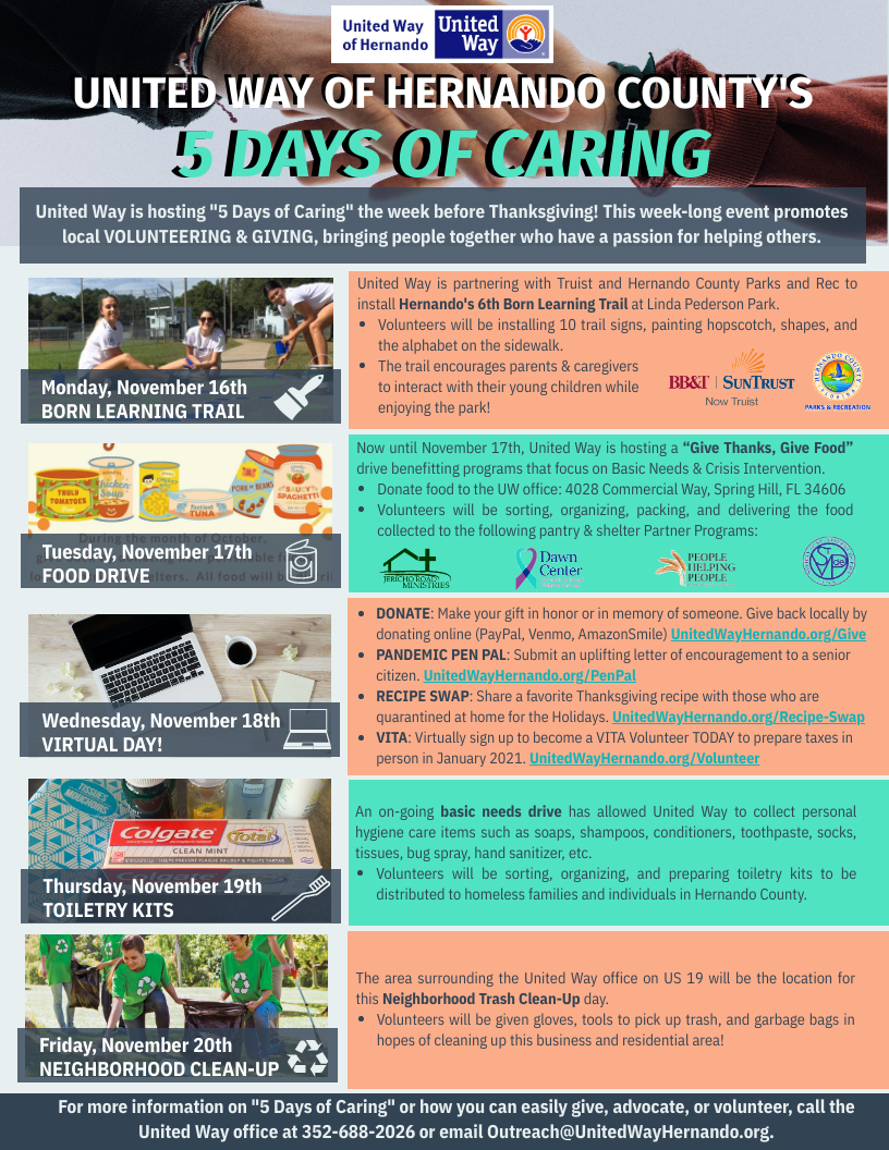 5 Days of Caring Image of Flyer